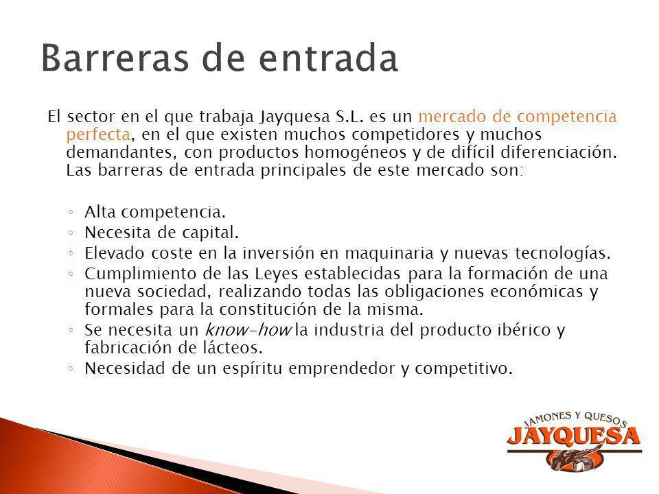 El sector en el que trabaja Jayquesa S.L. es un mercado de competencia perfecta, en el que existen muchos competidores y muchos demandantes, con produ