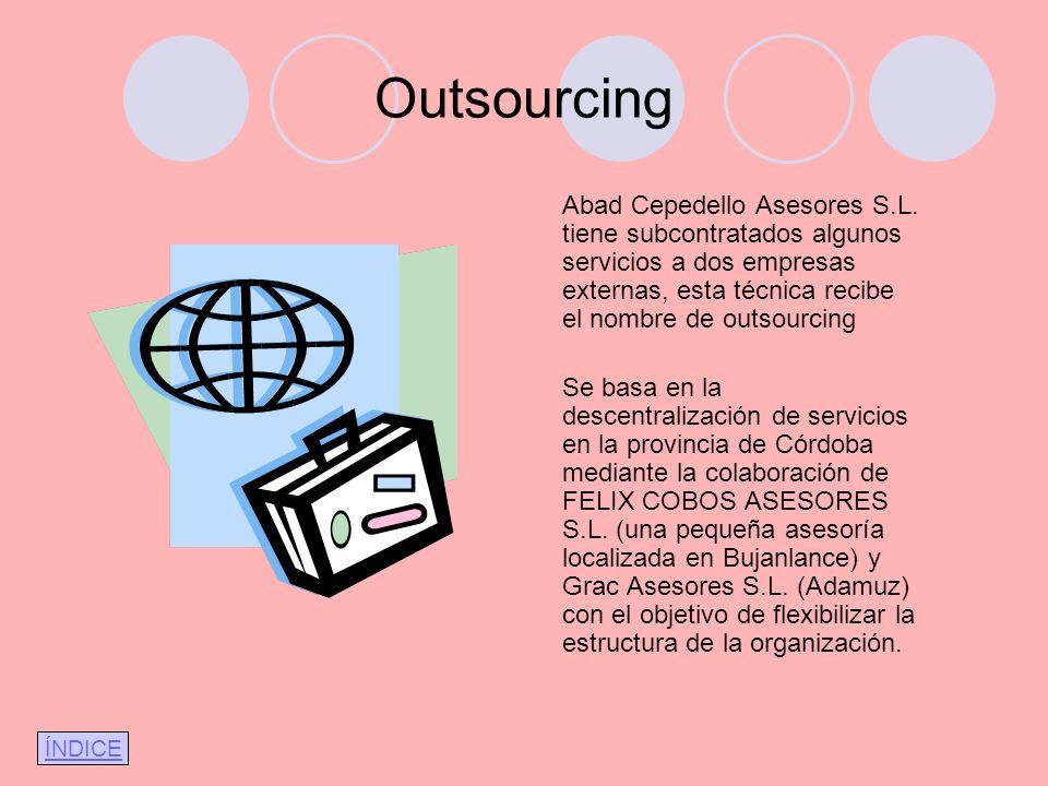 Outsourcing Abad Cepedello Asesores S.L. tiene subcontratados algunos servicios a dos empresas externas, esta técnica recibe el nombre de outsourcing