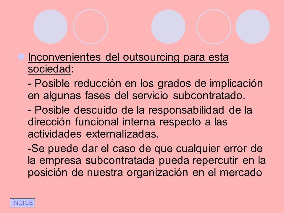 Inconvenientes del outsourcing para esta sociedad: - Posible reducción en los grados de implicación en algunas fases del servicio subcontratado. - Pos
