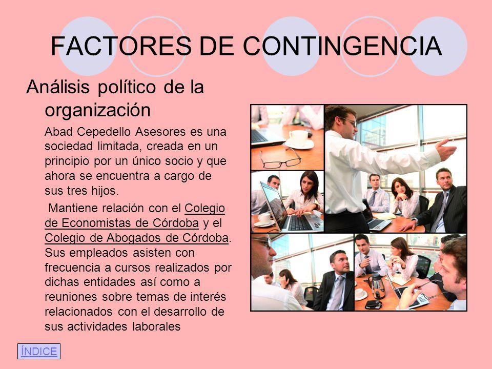 FACTORES DE CONTINGENCIA Análisis político de la organización Abad Cepedello Asesores es una sociedad limitada, creada en un principio por un único so