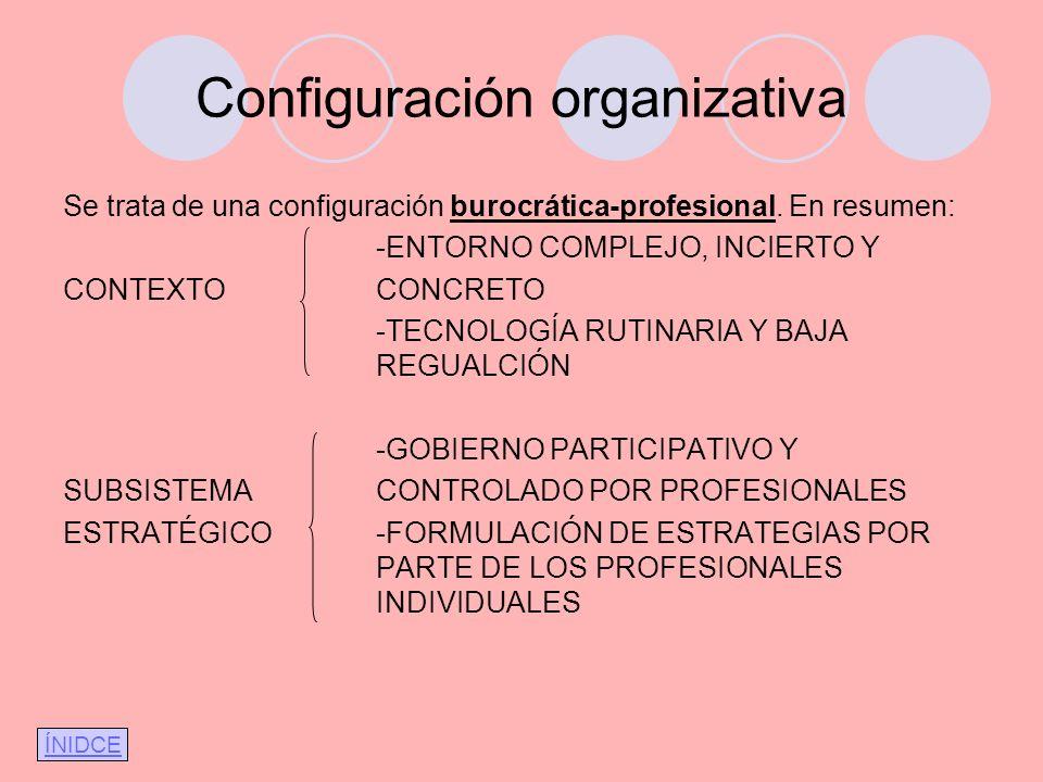 Configuración organizativa Se trata de una configuración burocrática-profesional. En resumen: -ENTORNO COMPLEJO, INCIERTO Y CONTEXTOCONCRETO -TECNOLOG