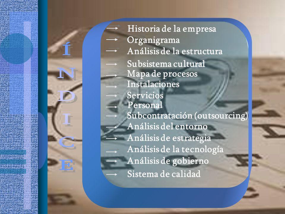 Historia de la empresa Organigrama Instalaciones Servicios Personal Análisis de la estructura Subsistema cultural Mapa de procesos Subcontratación (ou