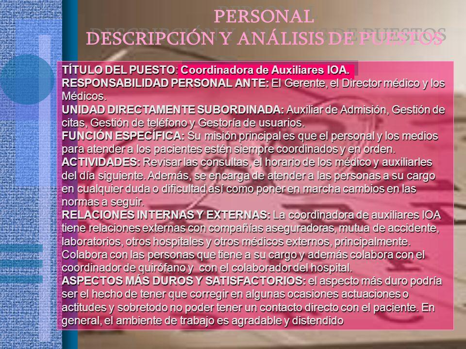 TÍTULO DEL PUESTO: Coordinadora de Auxiliares IOA. RESPONSABILIDAD PERSONAL ANTE: El Gerente, el Director médico y los Médicos. UNIDAD DIRECTAMENTE SU