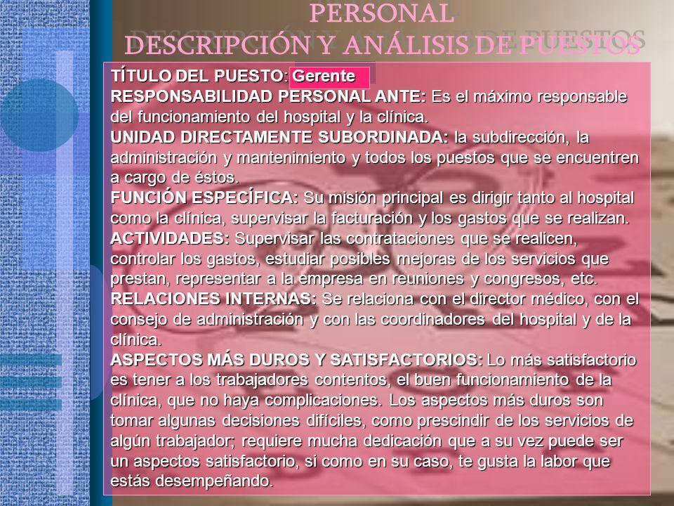 TÍTULO DEL PUESTO: Gerente RESPONSABILIDAD PERSONAL ANTE: Es el máximo responsable del funcionamiento del hospital y la clínica. UNIDAD DIRECTAMENTE S