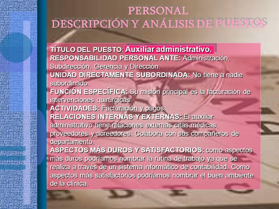 TÍTULO DEL PUESTO: Auxiliar administrativo. RESPONSABILIDAD PERSONAL ANTE: Administración, Subdirección, Gerencia y Dirección. UNIDAD DIRECTAMENTE SUB