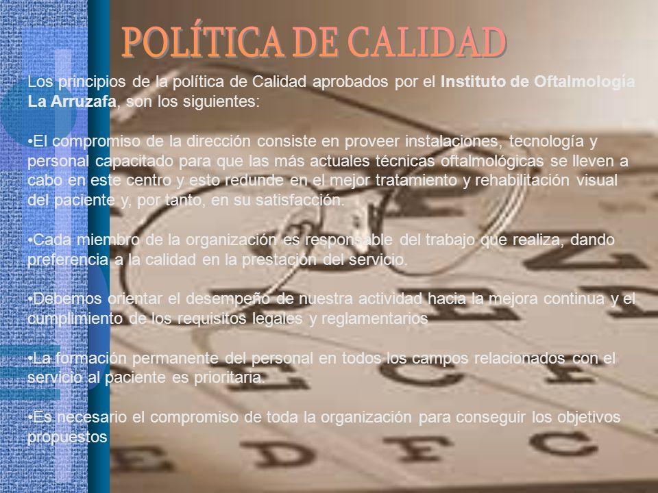 Los principios de la política de Calidad aprobados por el Instituto de Oftalmología La Arruzafa, son los siguientes: El compromiso de la dirección con