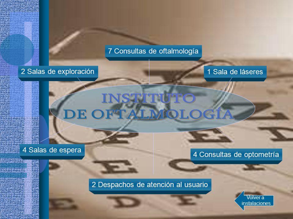 1 Sala de láseres 7 Consultas de oftalmología 4 Salas de espera 4 Consultas de optometría 2 Despachos de atención al usuario 2 Salas de exploración Vo