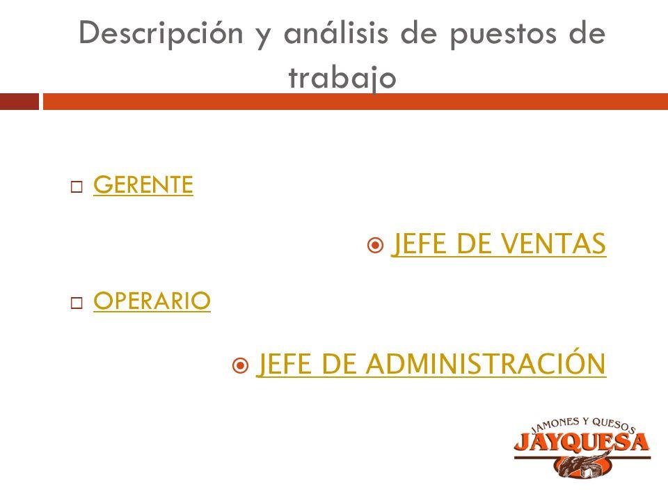 Descripción y análisis de puestos de trabajo GERENTE OPERARIO JEFE DE VENTAS JEFE DE ADMINISTRACIÓN