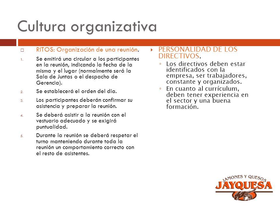 Cultura organizativa RITOS: Organización de una reunión. 1. Se emitirá una circular a los participantes en la reunión, indicando la fecha de la misma