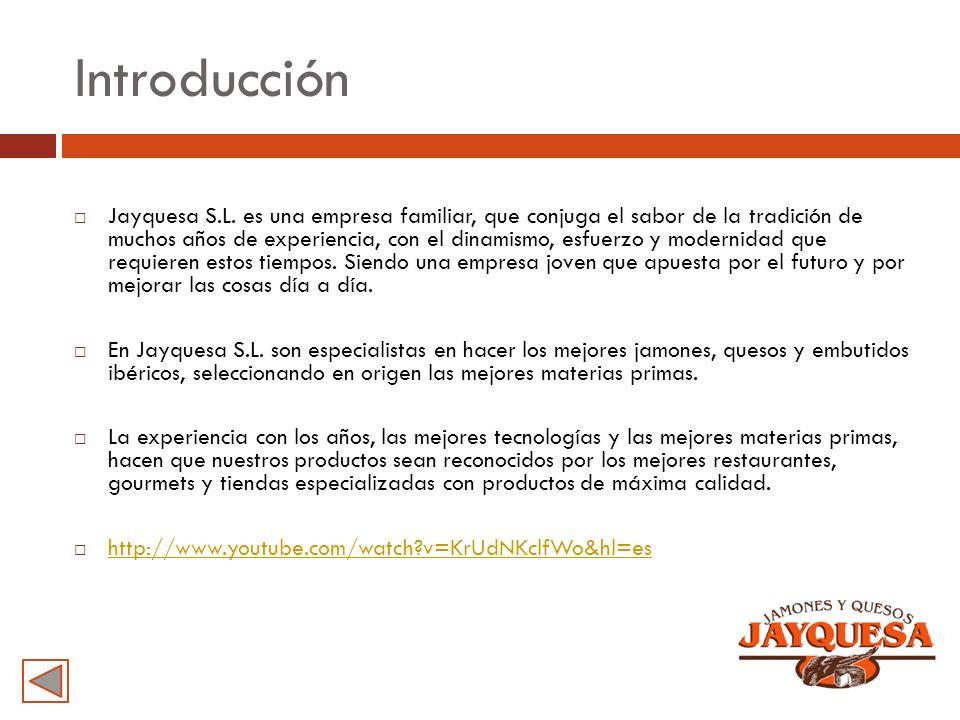 Introducción Jayquesa S.L. es una empresa familiar, que conjuga el sabor de la tradición de muchos años de experiencia, con el dinamismo, esfuerzo y m