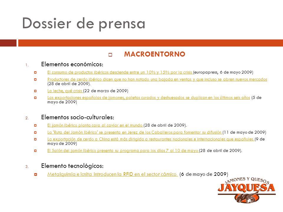 Dossier de prensa MACROENTORNO 1. Elementos económicos: El consumo de productos ibéricos desciende entre un 10% y 15% por la crisis (europapress, 6 de