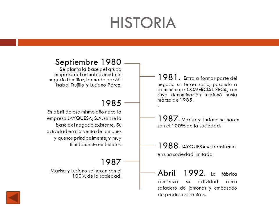 HISTORIA Septiembre 1980 Se planta la base del grupo empresarial actual naciendo el negocio familiar, formado por Mª Isabel Trujillo y Luciano Pérez.