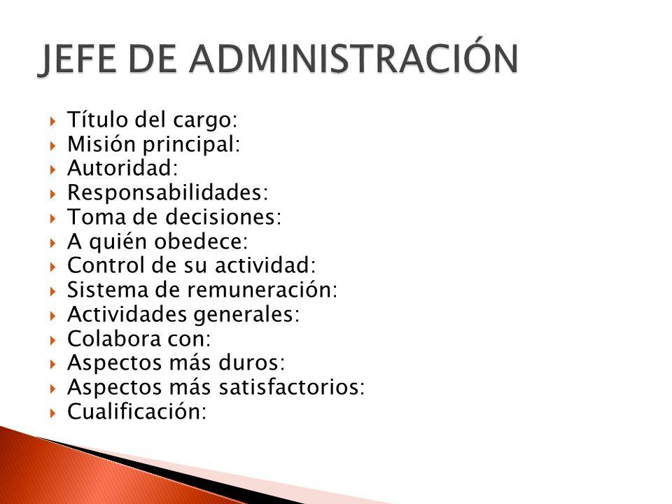 Título del cargo: Misión principal: Autoridad: Responsabilidades: Toma de decisiones: A quién obedece: Control de su actividad: Sistema de remuneració
