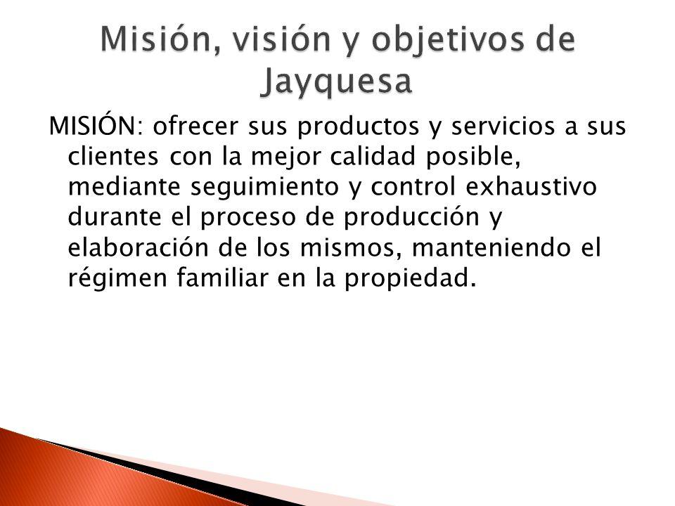 MISIÓN: ofrecer sus productos y servicios a sus clientes con la mejor calidad posible, mediante seguimiento y control exhaustivo durante el proceso de