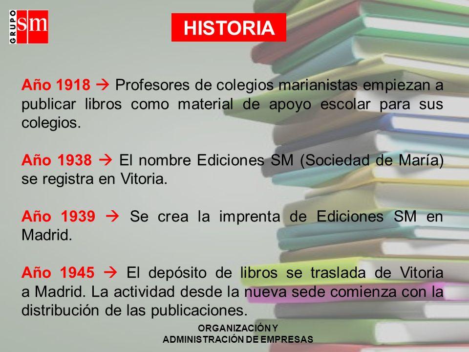 ORGANIZACIÓN Y ADMINISTRACIÓN DE EMPRESAS Año 1918 Profesores de colegios marianistas empiezan a publicar libros como material de apoyo escolar para sus colegios.