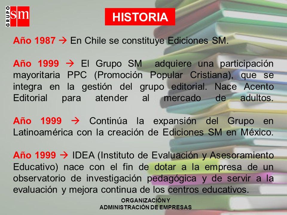 ORGANIZACIÓN Y ADMINISTRACIÓN DE EMPRESAS Año 1987 En Chile se constituye Ediciones SM.