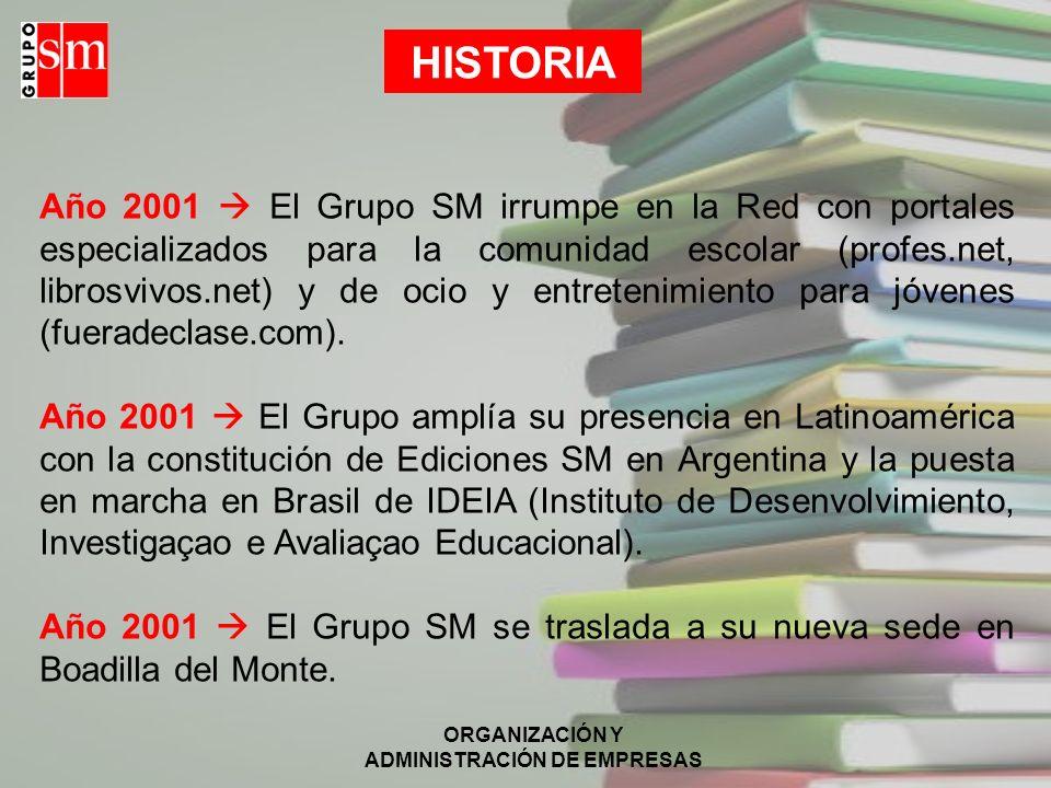 ORGANIZACIÓN Y ADMINISTRACIÓN DE EMPRESAS HISTORIA Año 2001 El Grupo SM irrumpe en la Red con portales especializados para la comunidad escolar (profes.net, librosvivos.net) y de ocio y entretenimiento para jóvenes (fueradeclase.com).