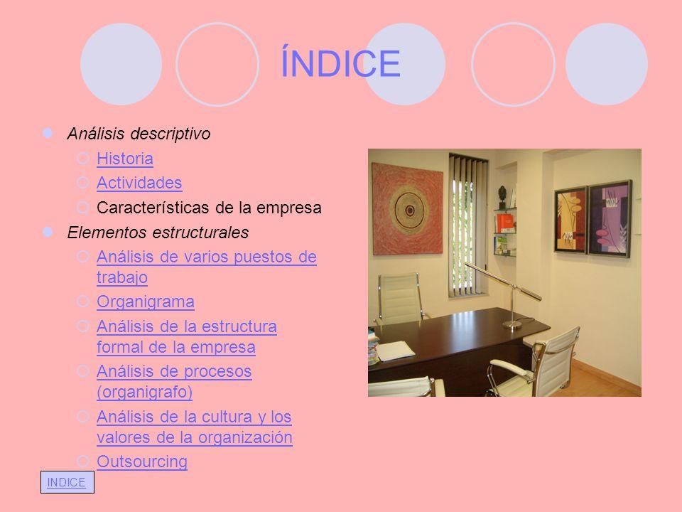 INDICE ÍNDICE Análisis descriptivo Historia Actividades Características de la empresa Elementos estructurales Análisis de varios puestos de trabajo An