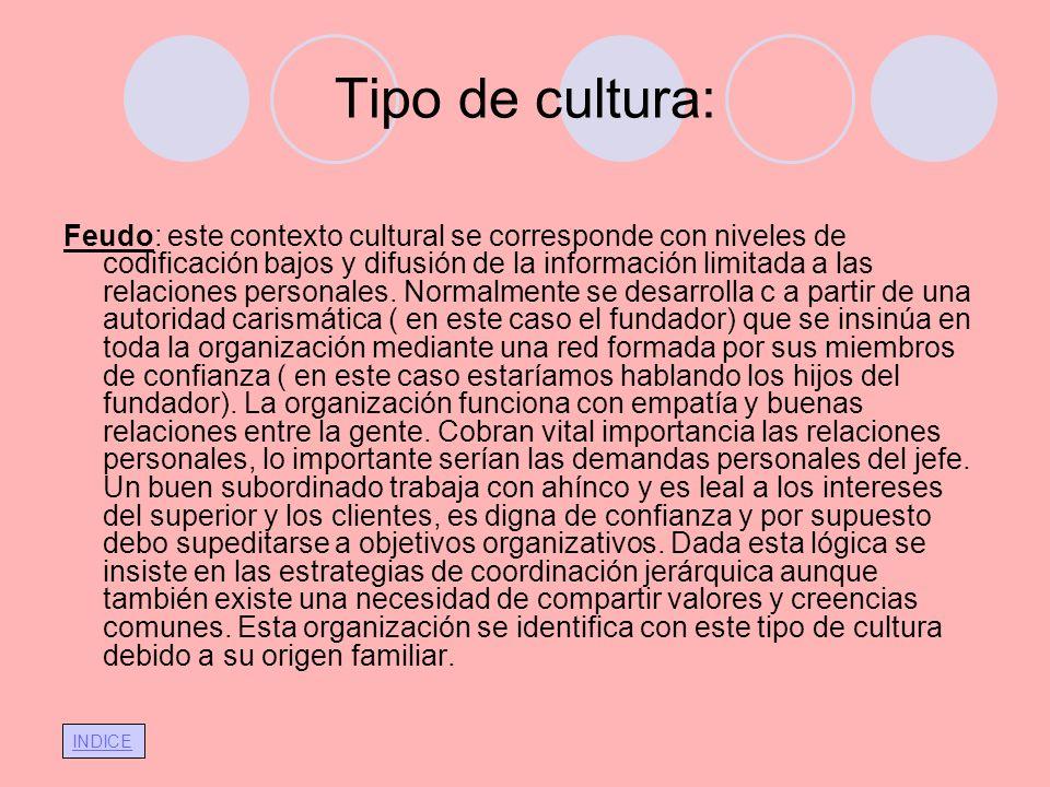 INDICE Tipo de cultura: Feudo: este contexto cultural se corresponde con niveles de codificación bajos y difusión de la información limitada a las rel