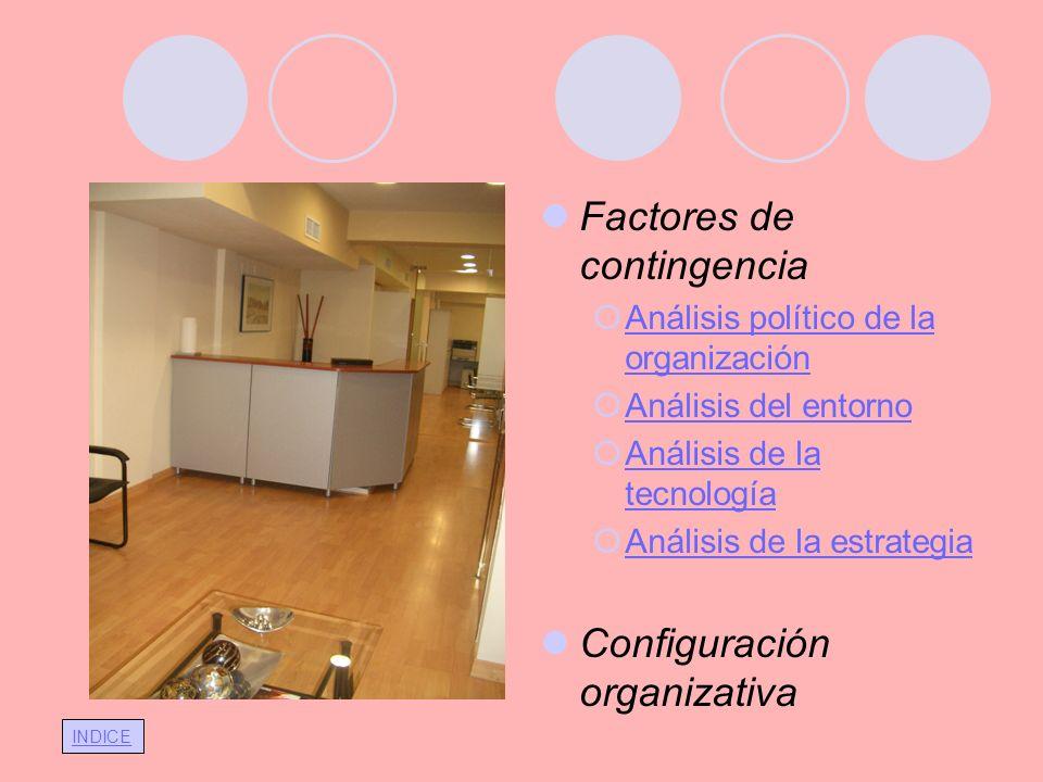 INDICE Factores de contingencia Análisis político de la organización Análisis político de la organización Análisis del entorno Análisis de la tecnolog