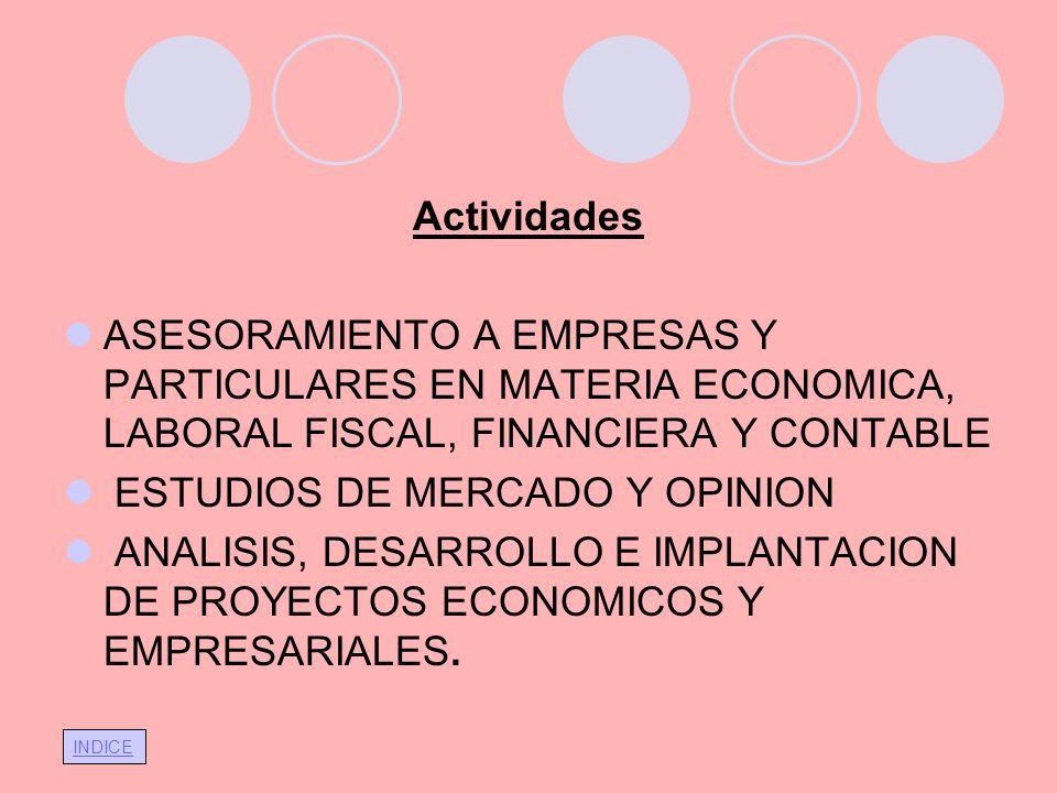 INDICE Actividades ASESORAMIENTO A EMPRESAS Y PARTICULARES EN MATERIA ECONOMICA, LABORAL FISCAL, FINANCIERA Y CONTABLE ESTUDIOS DE MERCADO Y OPINION A
