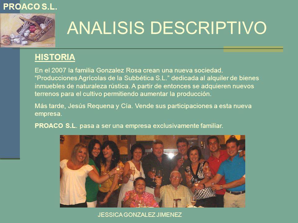ANALISIS DESCRIPTIVO PROACO S.L. HISTORIA En el 2007 la familia Gonzalez Rosa crean una nueva sociedad. Producciones Agrícolas de la Subbética S.L. de