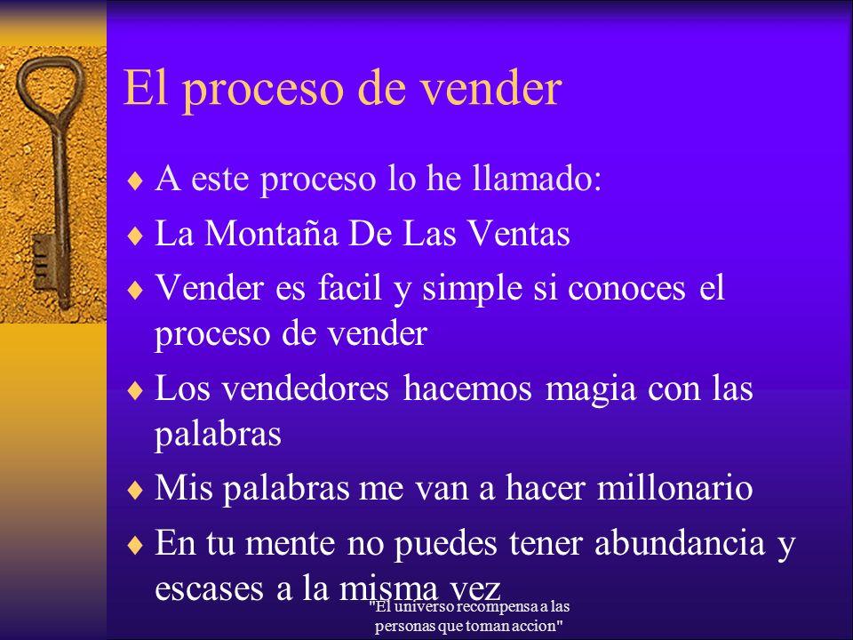 El proceso de vender A este proceso lo he llamado: La Montaña De Las Ventas Vender es facil y simple si conoces el proceso de vender Los vendedores ha