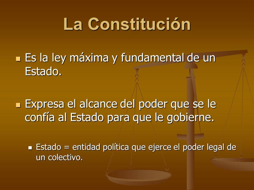 La Constitución Es la ley máxima y fundamental de un Estado. Es la ley máxima y fundamental de un Estado. Expresa el alcance del poder que se le confí