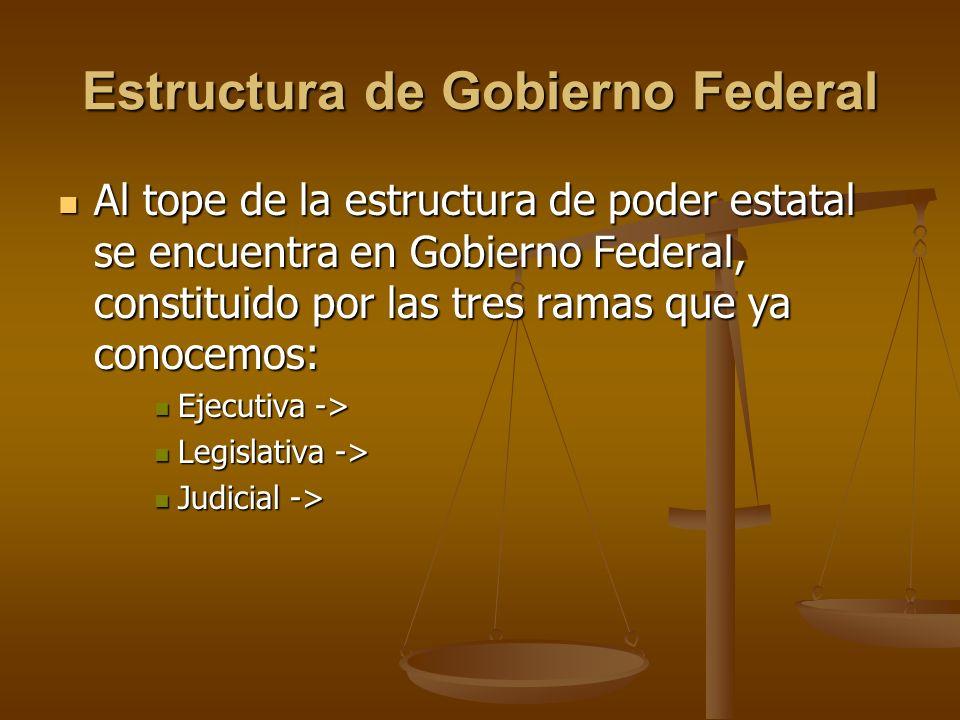 Estructura de Gobierno Federal Al tope de la estructura de poder estatal se encuentra en Gobierno Federal, constituido por las tres ramas que ya conoc