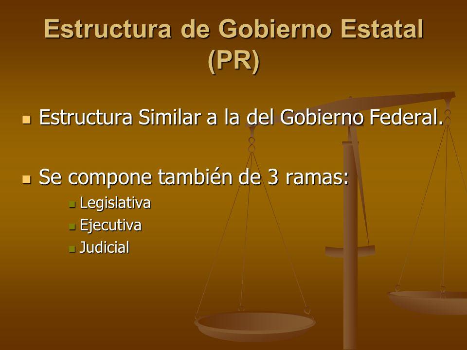 Estructura de Gobierno Estatal (PR) Estructura Similar a la del Gobierno Federal. Estructura Similar a la del Gobierno Federal. Se compone también de
