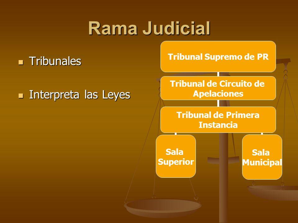 Rama Judicial Tribunales Tribunales Interpreta las Leyes Interpreta las Leyes Tribunal de Circuito de Apelaciones Tribunal de Primera Instancia
