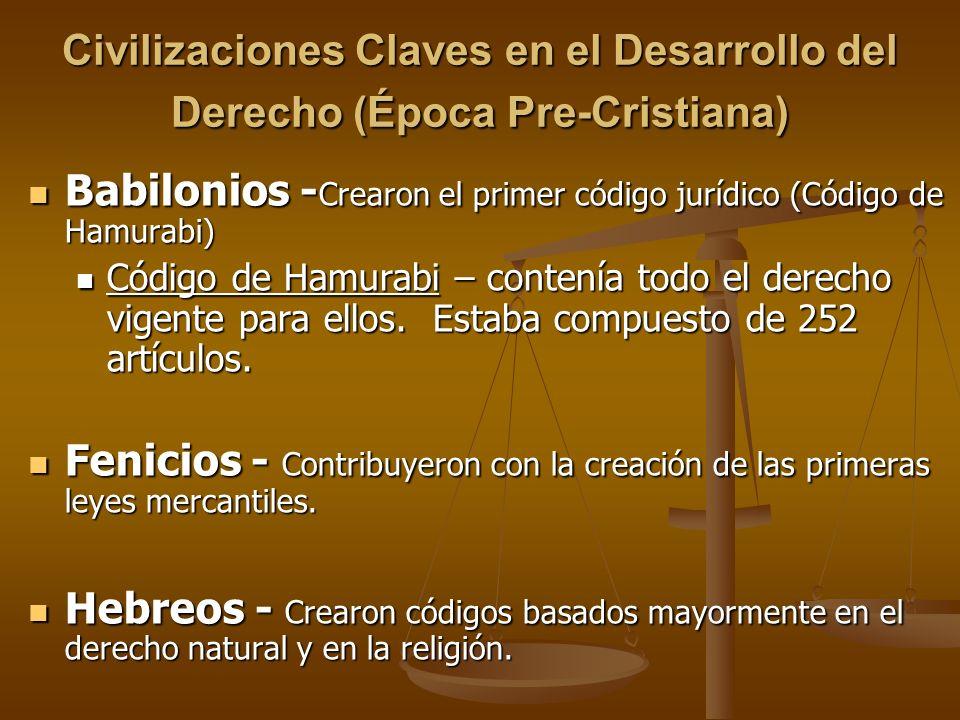 Civilizaciones Claves en el Desarrollo del Derecho (Época Pre-Cristiana) Babilonios - Crearon el primer código jurídico (Código de Hamurabi) Babilonio