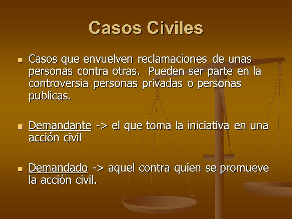 Casos Civiles Casos que envuelven reclamaciones de unas personas contra otras. Pueden ser parte en la controversia personas privadas o personas public