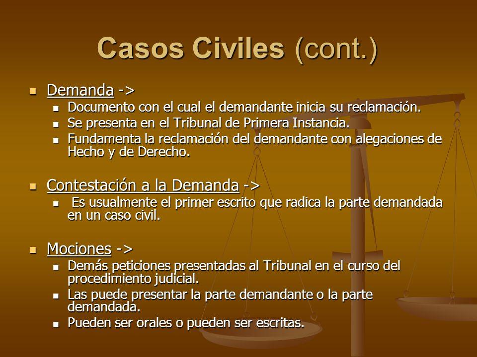 Casos Civiles (cont.) Demanda -> Demanda -> Documento con el cual el demandante inicia su reclamación. Documento con el cual el demandante inicia su r