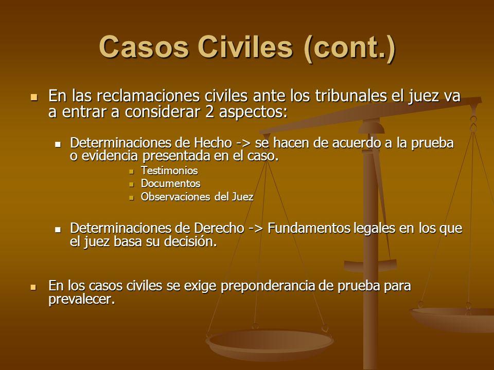 Casos Civiles (cont.) En las reclamaciones civiles ante los tribunales el juez va a entrar a considerar 2 aspectos: En las reclamaciones civiles ante