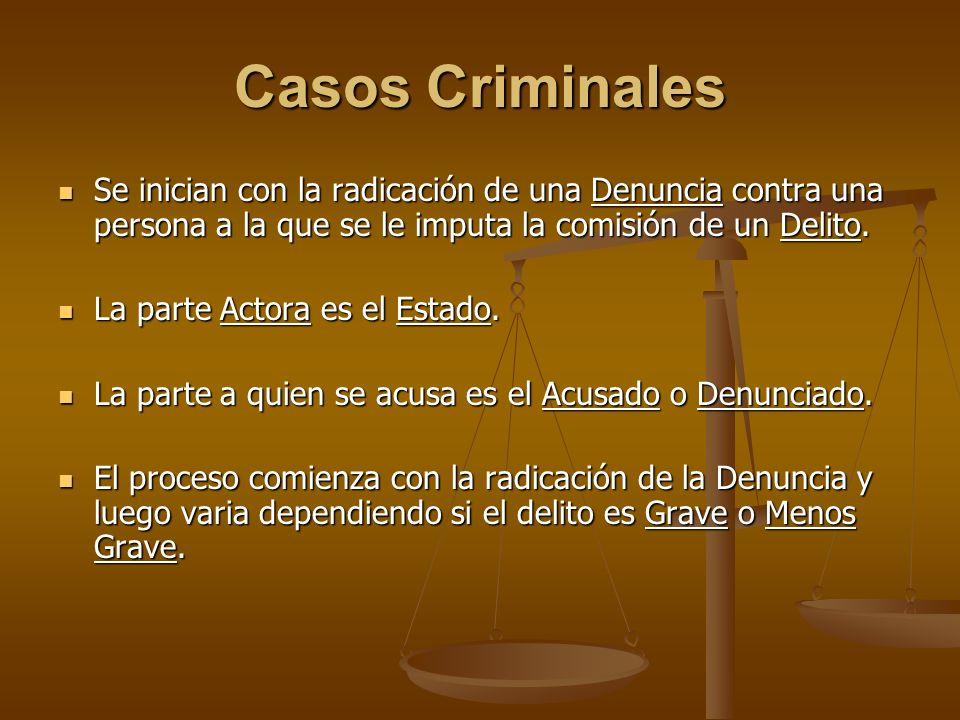 Casos Criminales Se inician con la radicación de una Denuncia contra una persona a la que se le imputa la comisión de un Delito. Se inician con la rad