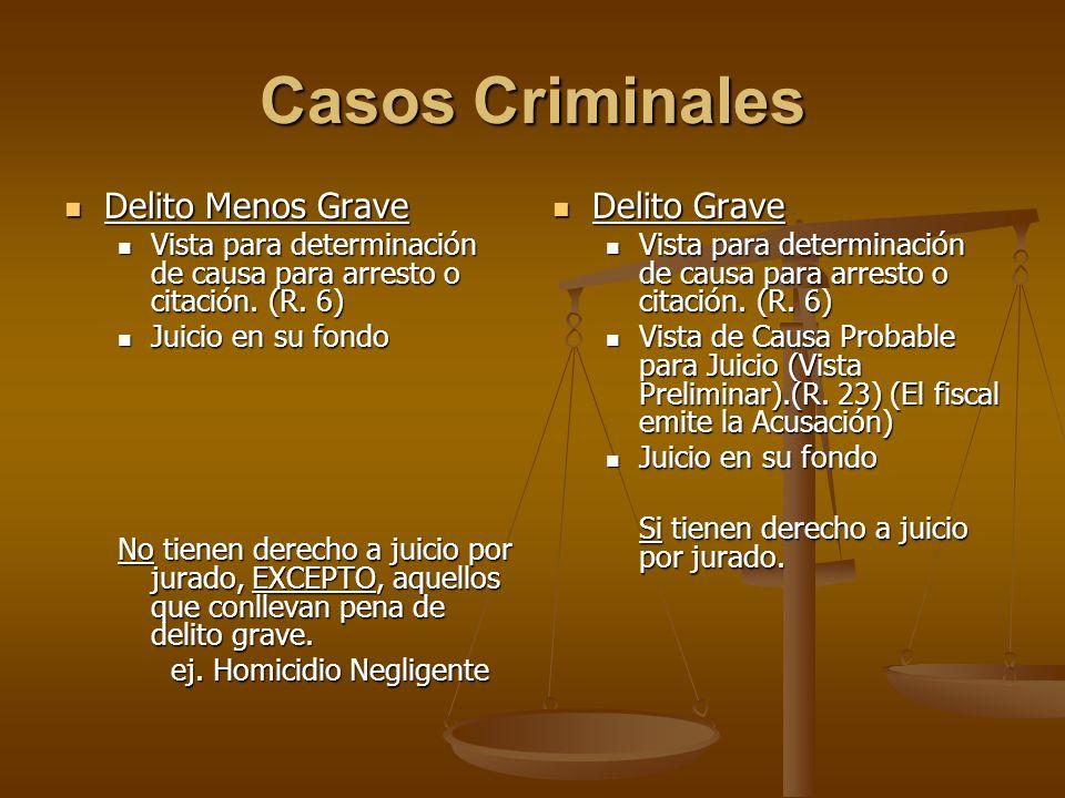 Casos Criminales Delito Menos Grave Delito Menos Grave Vista para determinación de causa para arresto o citación. (R. 6) Vista para determinación de c