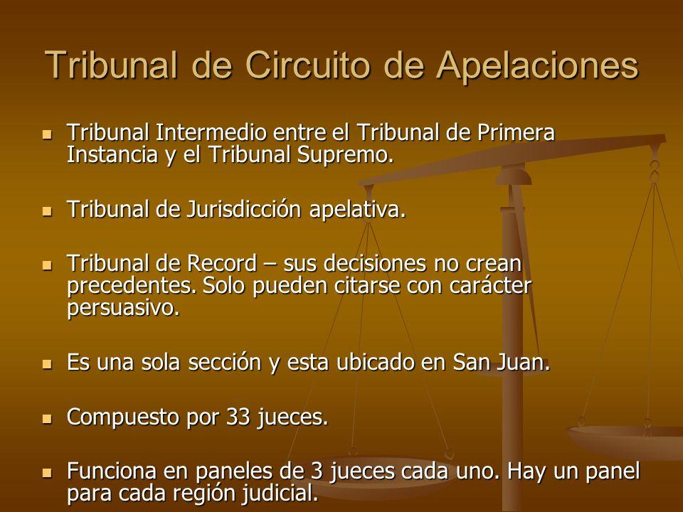 Tribunal de Circuito de Apelaciones Tribunal Intermedio entre el Tribunal de Primera Instancia y el Tribunal Supremo. Tribunal Intermedio entre el Tri