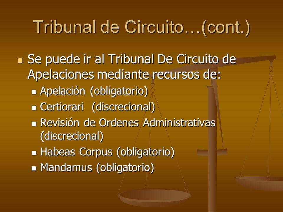 Tribunal de Circuito…(cont.) Se puede ir al Tribunal De Circuito de Apelaciones mediante recursos de: Se puede ir al Tribunal De Circuito de Apelacion