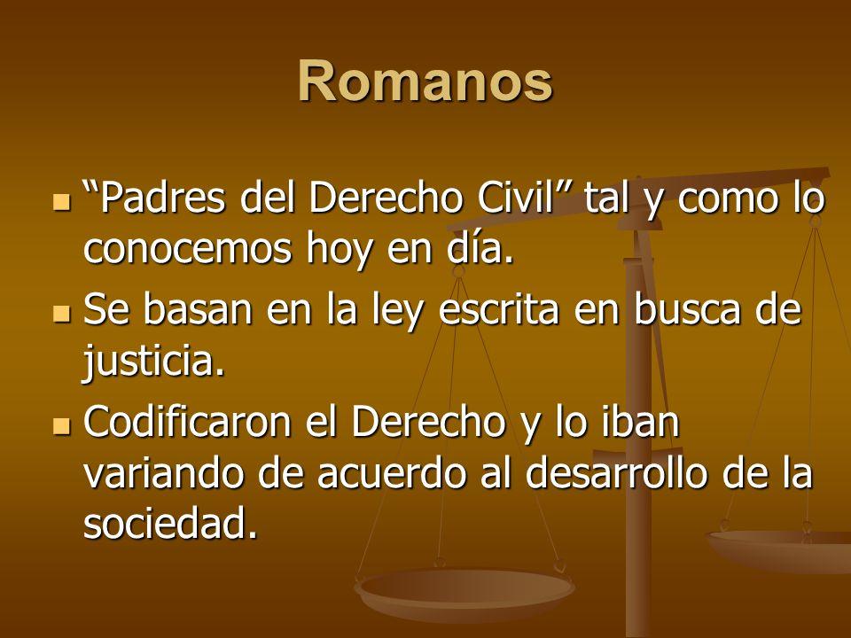Romanos Padres del Derecho Civil tal y como lo conocemos hoy en día. Padres del Derecho Civil tal y como lo conocemos hoy en día. Se basan en la ley e