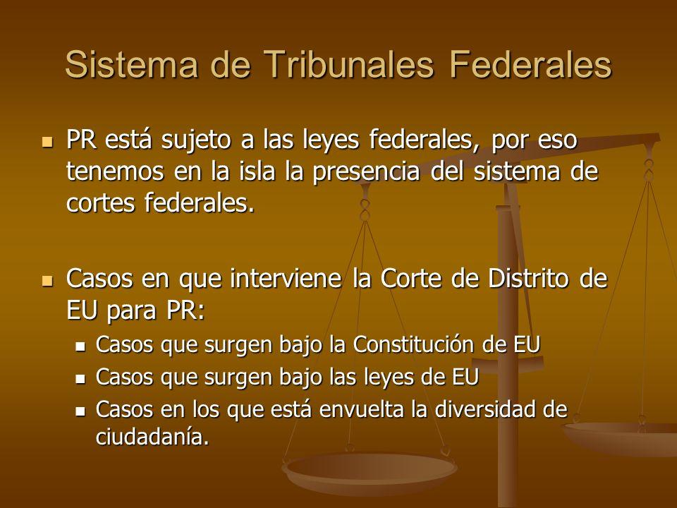 Sistema de Tribunales Federales PR está sujeto a las leyes federales, por eso tenemos en la isla la presencia del sistema de cortes federales. PR está