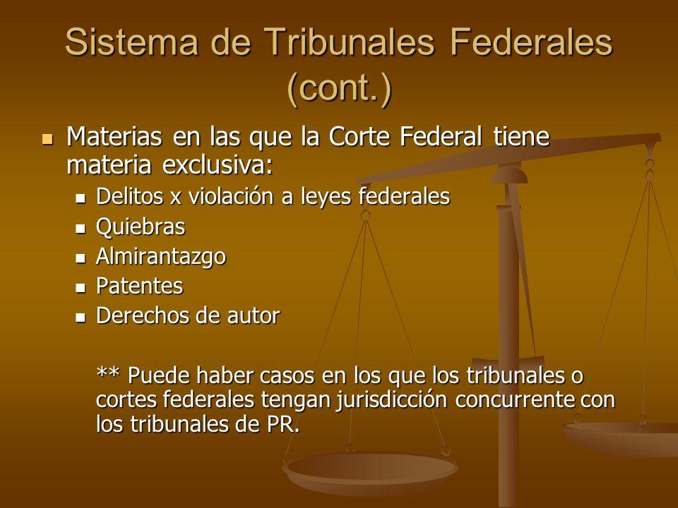 Sistema de Tribunales Federales (cont.) Materias en las que la Corte Federal tiene materia exclusiva: Materias en las que la Corte Federal tiene mater