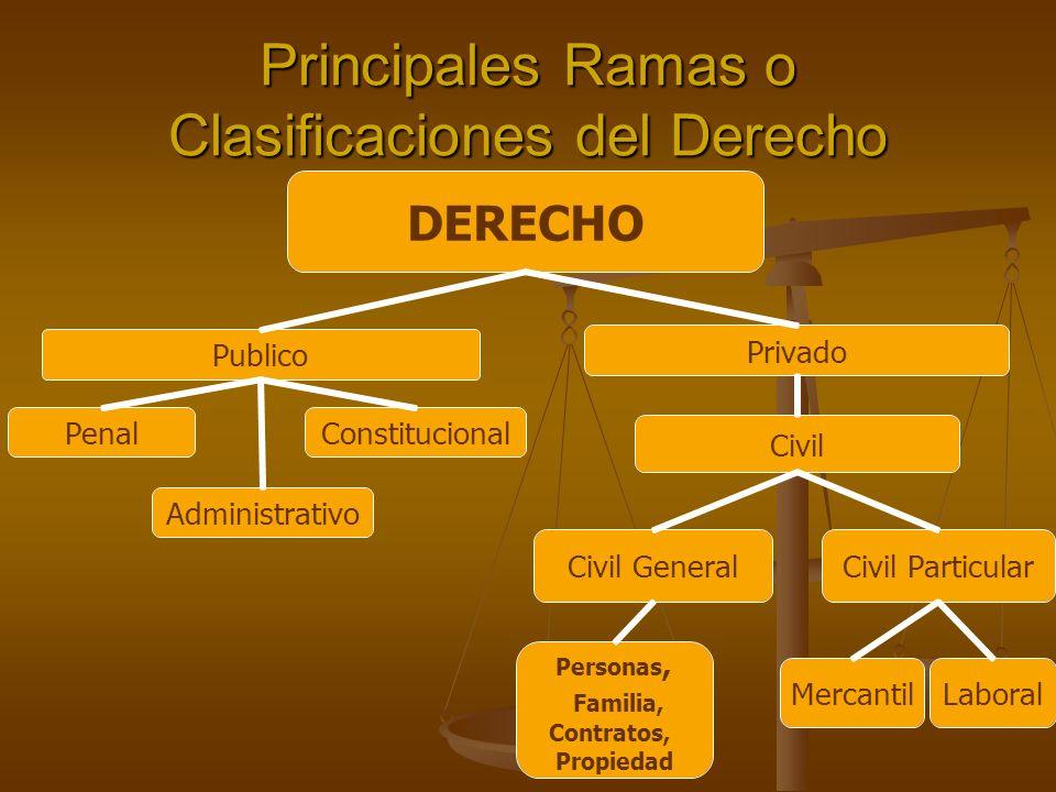 Principales Ramas o Clasificaciones del Derecho Privado Publico Civil Constitucional Civil ParticularCivil General Personas, Familia, Contratos, Propi