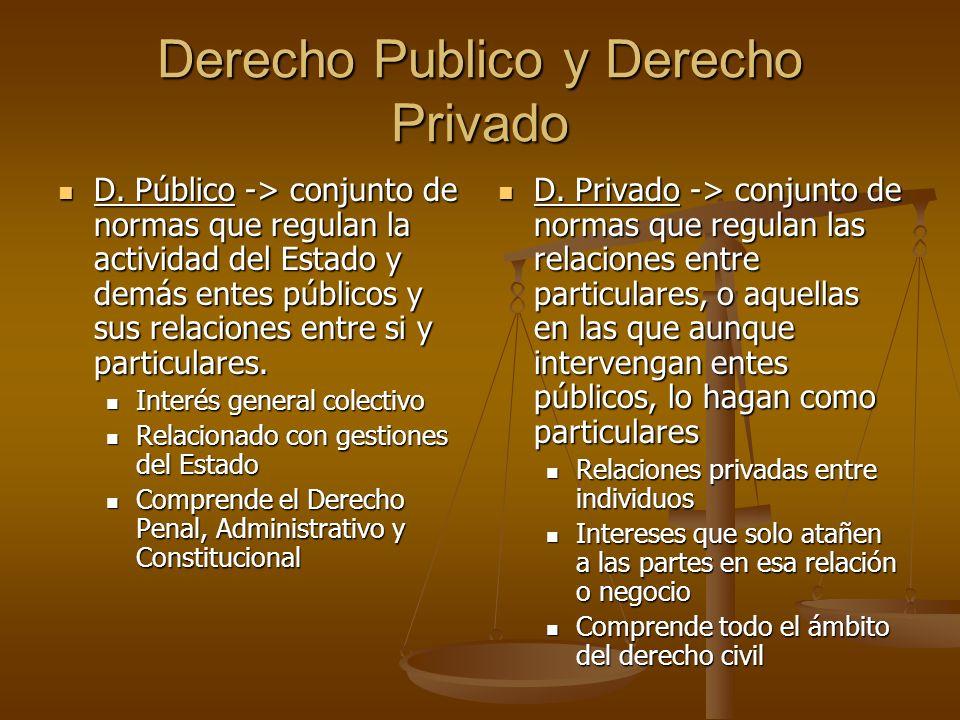 Derecho Publico y Derecho Privado D. Público -> conjunto de normas que regulan la actividad del Estado y demás entes públicos y sus relaciones entre s