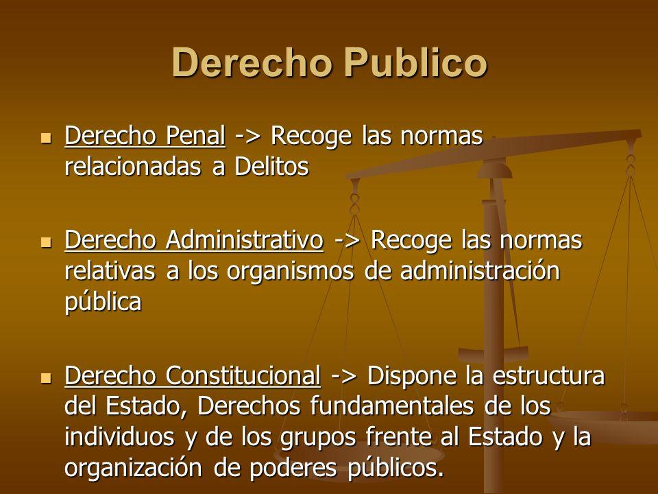 Derecho Publico Derecho Penal -> Recoge las normas relacionadas a Delitos Derecho Penal -> Recoge las normas relacionadas a Delitos Derecho Administra