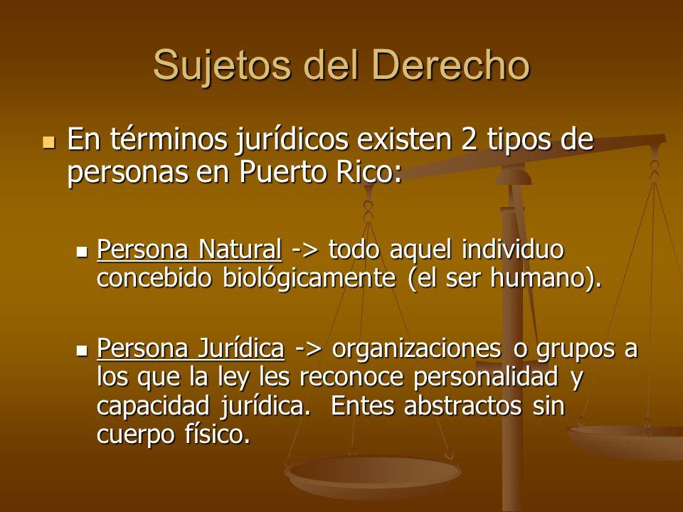 Sujetos del Derecho En términos jurídicos existen 2 tipos de personas en Puerto Rico: En términos jurídicos existen 2 tipos de personas en Puerto Rico