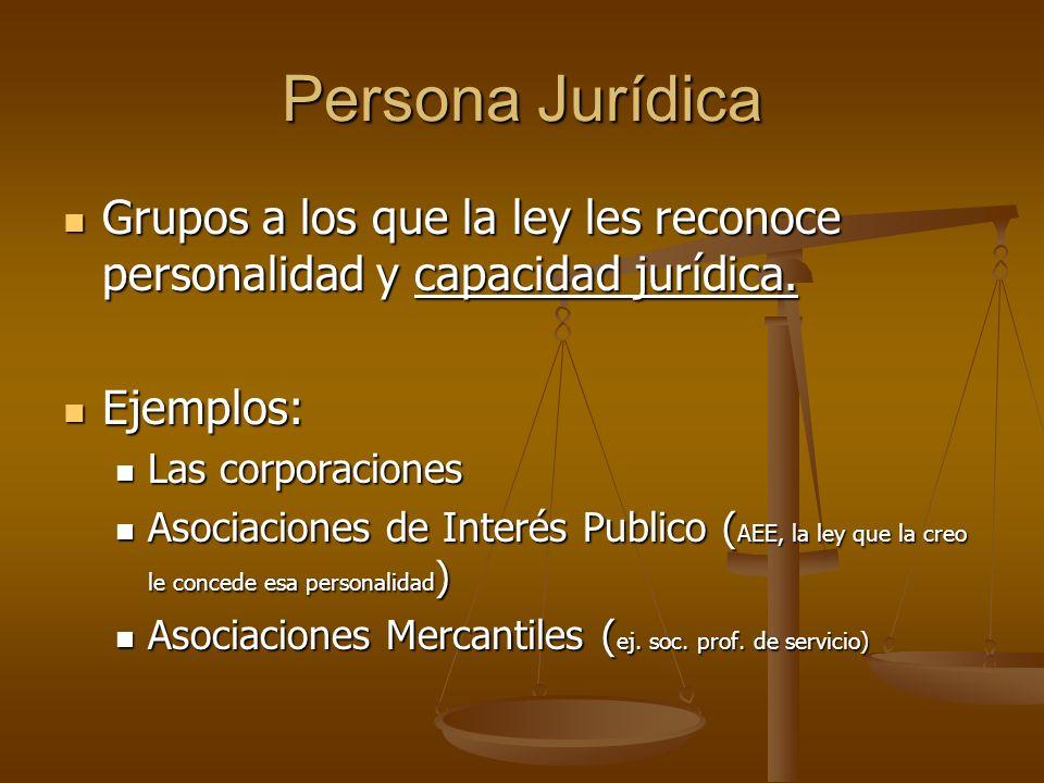 Persona Jurídica Grupos a los que la ley les reconoce personalidad y capacidad jurídica. Grupos a los que la ley les reconoce personalidad y capacidad