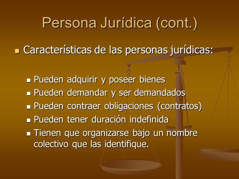 Persona Jurídica (cont.) Características de las personas jurídicas: Características de las personas jurídicas: Pueden adquirir y poseer bienes Pueden