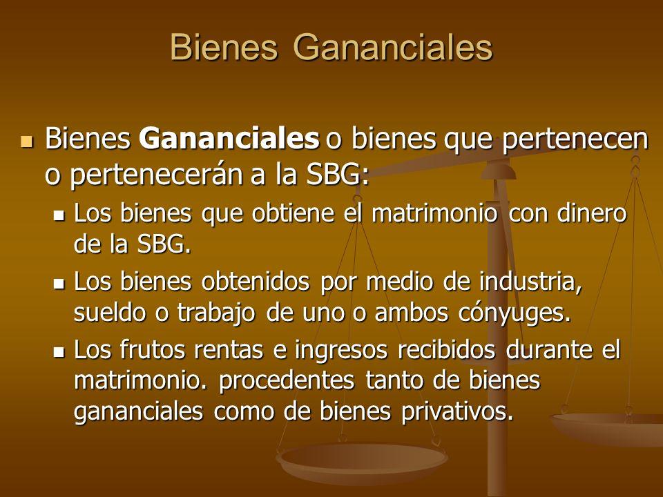 Bienes Gananciales Bienes Gananciales o bienes que pertenecen o pertenecerán a la SBG: Bienes Gananciales o bienes que pertenecen o pertenecerán a la