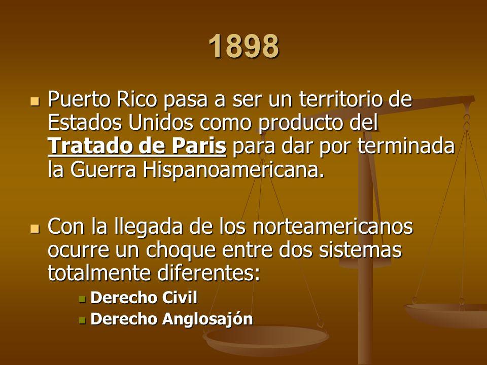 1898 Puerto Rico pasa a ser un territorio de Estados Unidos como producto del Tratado de Paris para dar por terminada la Guerra Hispanoamericana. Puer
